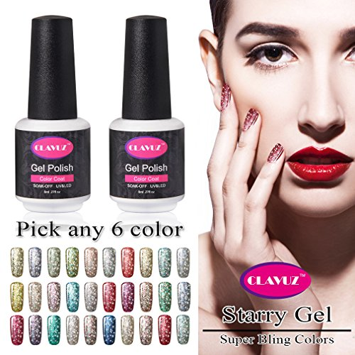 CLAVUZ Starry Gel Nail Polish Pick Any 6 Color Collection Se