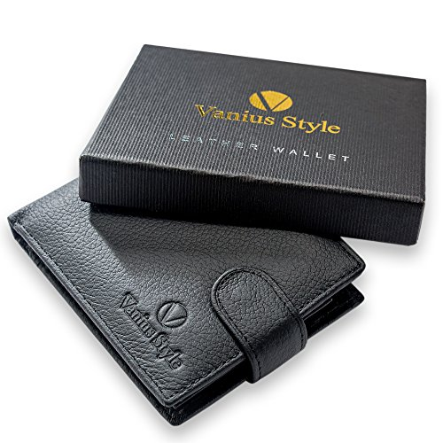 Black Leather - Safe Wallet for Mens Premium Trifold - with RFID Blocking and Coin Pocket - Your money is safe