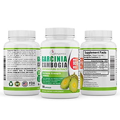 Pure Garcinia Cambogia Extract (1500mg) With 95% HCA. Most Potent Formula Available, 90 Capsules in Each Bottle. An Excellent Weight Loss Supplement and a Natural Appetite Suppressant.
