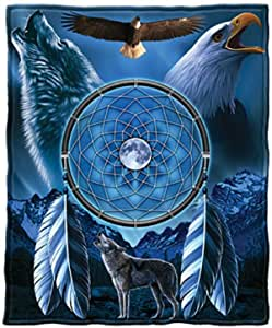 Dream Catcher With Wolf And Bald Eagle Blue Fleece Throw Blanket 50 X 60 Amazon Ca Home Kitchen