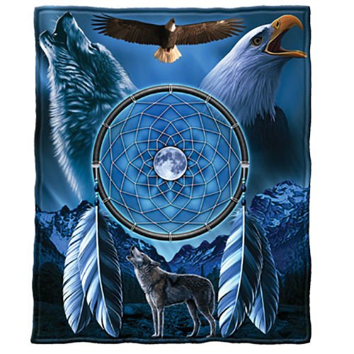 Dream Catcher with Wolf and Bald Eagle, Blue Fleece Throw Bl