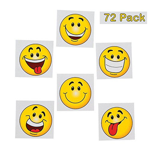 Emoji Tattoos - Pack of 36 - 2 Inches Assorted Goofy Smiley Face Cool Emoticon Face Tattoo - for Kids - Great Party Favors, Bag Stuffers, Fun, Gift, Prize - - Great Bags Smile