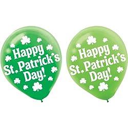 St. Patrick's Day Irish Shamrock Latex Balloons -12 In. - 15 Balloons/pkg.