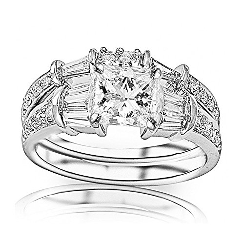 Band Diamond Brilliant Round Baguette (1.28 Ctw Platinum Baguette And Round Brilliant Diamond Engagement Ring and Wedding Band Set (H-I Color SI1-SI2 Clarity 0.45 Ct Princess Cut Center))
