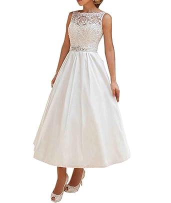 JQLD Womens Tea Length Wedding Dress Lace Satin Sexy Backless A-Line Bridal  Gown US2 f2d34bd22b