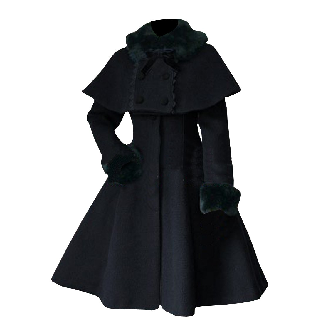 Partiss Women's Sweet Lolita Faux Fur Cape Overcoat, Chinese Large, Black