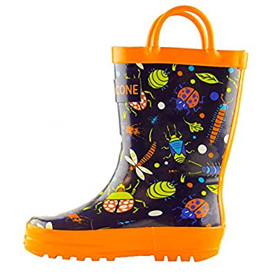 Lone Cone Children's Waterproof Rubber Rain Boots in Fun Patterns with Easy-On Handles Simple For Kids (Beetle Boots, Beetle Boots, Beetle Boots, 4 M US Toddler)