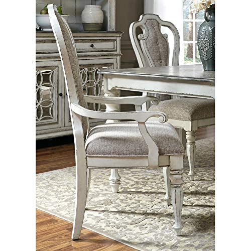 Svitlife Magnolia Manor Antique White 7-Piece Splat Back Rectangular Dinette Set Dining Set Antique Room Table Chairs and Oak Mahogany Buffet