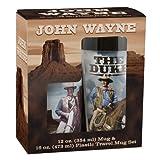 Vandor 15088 John Wayne 16 oz Plastic Travel Mug and 12 oz Ceramic Mug Set, Brown and Blue