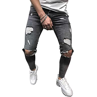 8ca98ee0b3abd Dihope Homme Vintage Jeans Skinny Pantalon en Denim Serré Trou Biker  Straight Slim Fit Pants Déchiré
