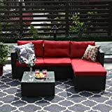 PHI VILLA 3-Piece Patio Furniture Set Rattan Sectional Sofa Wicker Furniture (Red)
