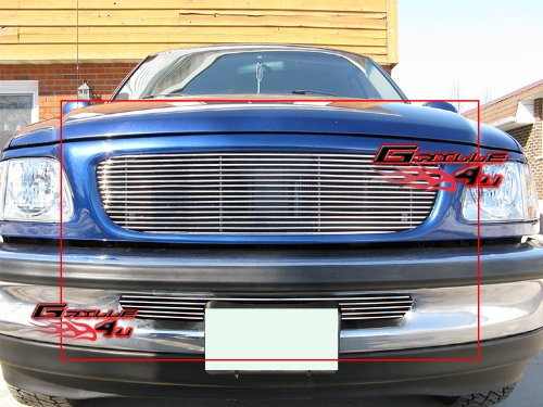APS Compatible with 1997-1998 Ford F-150 2WD Billet Grille Combo Upper+Lower for Bar Style Only S18-A25978F