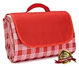 Extra Large Picnic Blanket with Tote,Foldable and Waterproof Sandproof Plaid Handy Mat for Outdoor Hiking Beach Travel Camping on Grass Red