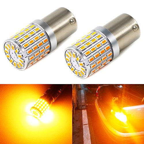 Phinlion Super Bright 3014 72-SMD BA15S 1156 1073 7506 Amber Yellow LED Light Bulbs for Turn Signal Blinker Lights ()