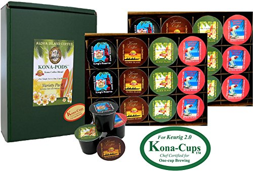 Exclusively for Keurig Model 2.0 K-cup coffee machines, Variety Pack of 100% Kona Coffee and Luxurious Kona Blend Coffee Kona-One-Cups, Box of 24 single-serve cups for Keurig 2.0 K-cup coffee machines.