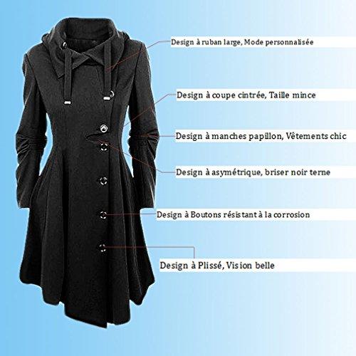 YOSICIL Femme Manteau Laine Parkas Trench-Coat Capuche Veste Épaise Manches  Longues avec Ourlet Asymétrique Coat Manteaux Chaud Automne Hiver Gabardine  ... 57e243e5367