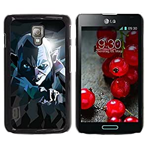 Slim Design Hard PC/Aluminum Shell Case Cover for LG Optimus L7 II P710 / L7X P714 Lord Movie Poster Stylized Evil Ring Creature / JUSTGO PHONE PROTECTOR