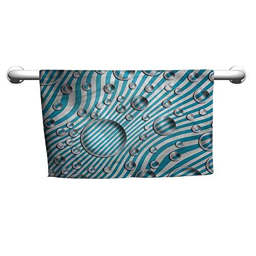 Bensonsve Art Towel Abstract,Bubbles Wavy Blue Stripes,Hanging Towel Rack for Bathroom
