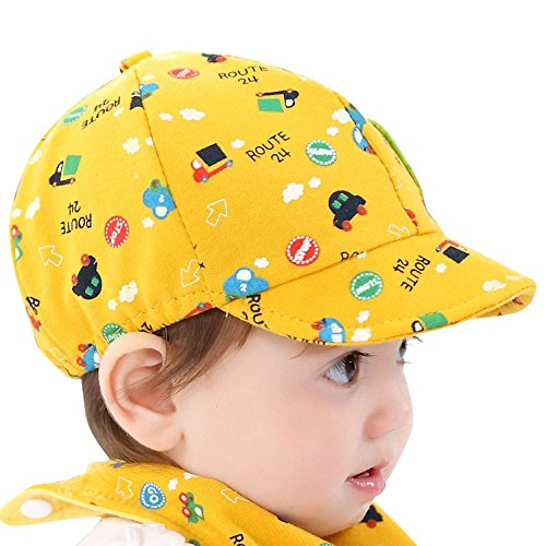 Gbell Toddler Boys Baseball Hat with Little Car Printed,Soft Baby Peaked Beret Cap for Boy Girl Infant Kids Age 0-3 Years ()