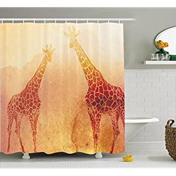 Safari Decor Shower Curtain Set By Ambesonne, Illustration Of Tropic  African Giraffes Tallest Neck Animal