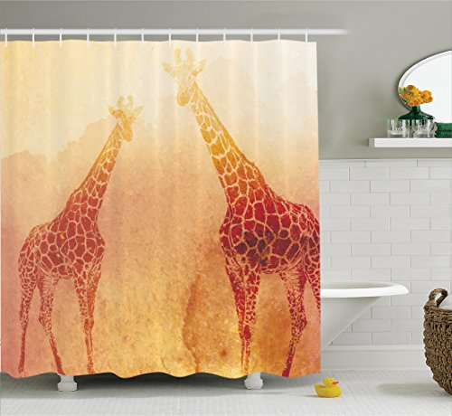 Cheap Ambesonne Safari Decor Shower Curtain Set, Illustration of Tropic African Giraffes Tallest Neck Animal Mammal in Retro Vintage Print, Bathroom Accessories, 69W X 70L inches, Orange