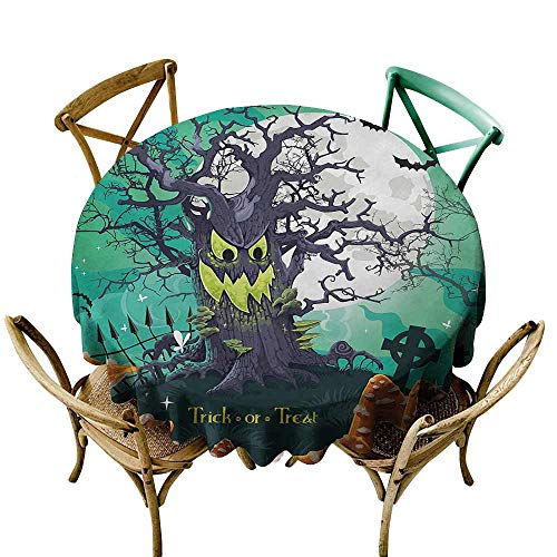 Zmstroy Stain-Resistant Tablecloth Halloween Trick or Treat Dead Forest with Spooky Tree Graves Big Kids Cartoon Art Print Indoor Outdoor Camping Picnic D59 Multicolor ()