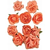 Kaisercraft Paper Blooms, 1-Inch to 1.5-Inch, Coral, 10-Pack