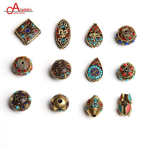 - Pukido Aladdin Nepal Metal Copper Cloisonne Beads Vintage Ethnic Water Drop DIY Bracelet Necklace Jewelry Accessories 661-672 - (Item Diameter: MM0665)