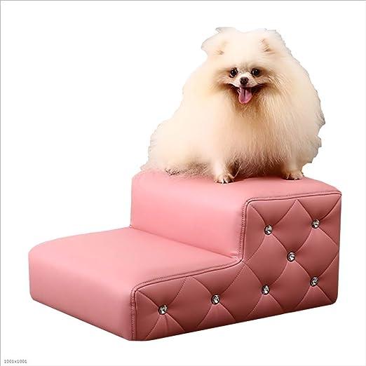 XIANK-UA Escalera de sofá para Mascotas, Perro, Gato, Escalera, Cama Alta y sofá escaleras, Escalera para Perros pequeños y Mayores, Piel sintética, Color Rosa: Amazon.es: Hogar