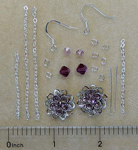 (Dangle Bead Earring Kit Swarovski Crystal Bicone Silver Daisy Beads Instructions (Light Amethyst))