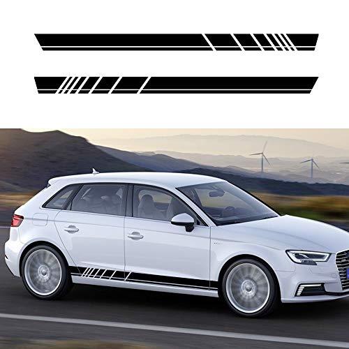 (Autotoper Car Side Door Skirt Strip Sticker Decals For Audi A3 A4 A5 A6 A7 Q2 Q3 Q5 B6 Black Vinyl Car Decal Accessories-styling 1 Pair(L+R))