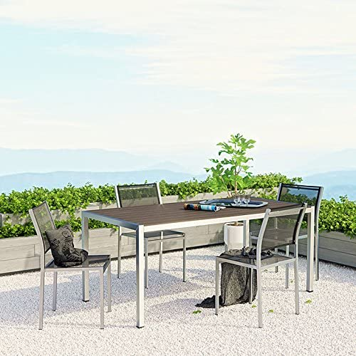 Modway Shore 5-Piece Aluminum Outdoor Patio Dining Table Set in Silver Black