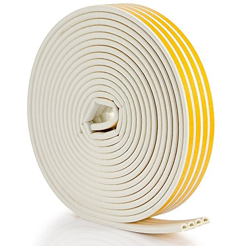 Seal Weather Stripping White - 56Feet/17m Epdm Foam Seal Strip by Savina, Anti-Collision Self Adhesive. Best Weatherstrip for Door/Window - 4 Seal (D Type - White)