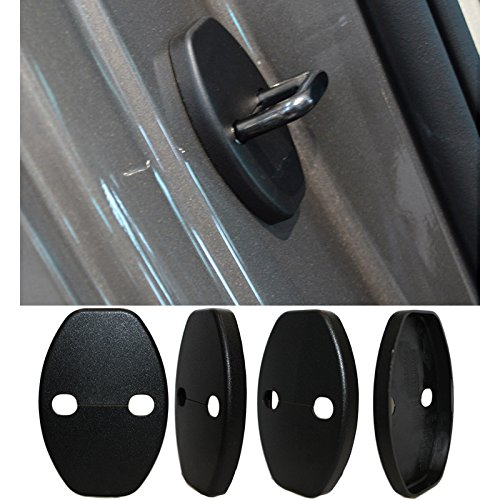 8X-SPEED 4pcs Car Styling Accessories Door Lock Protection Cover Case For Porsche Panamera Macan 718 911 Cayman BOXSTER Seat Liiza alhambra Door Striker Cover