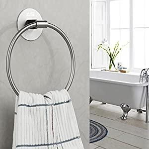 Self Adhesive Towel Holder,Stainless Steel Bathroom Towel Ring 7.08 inches/18cm,Wall Mounted 3M Self Adhesive Hand Towel…