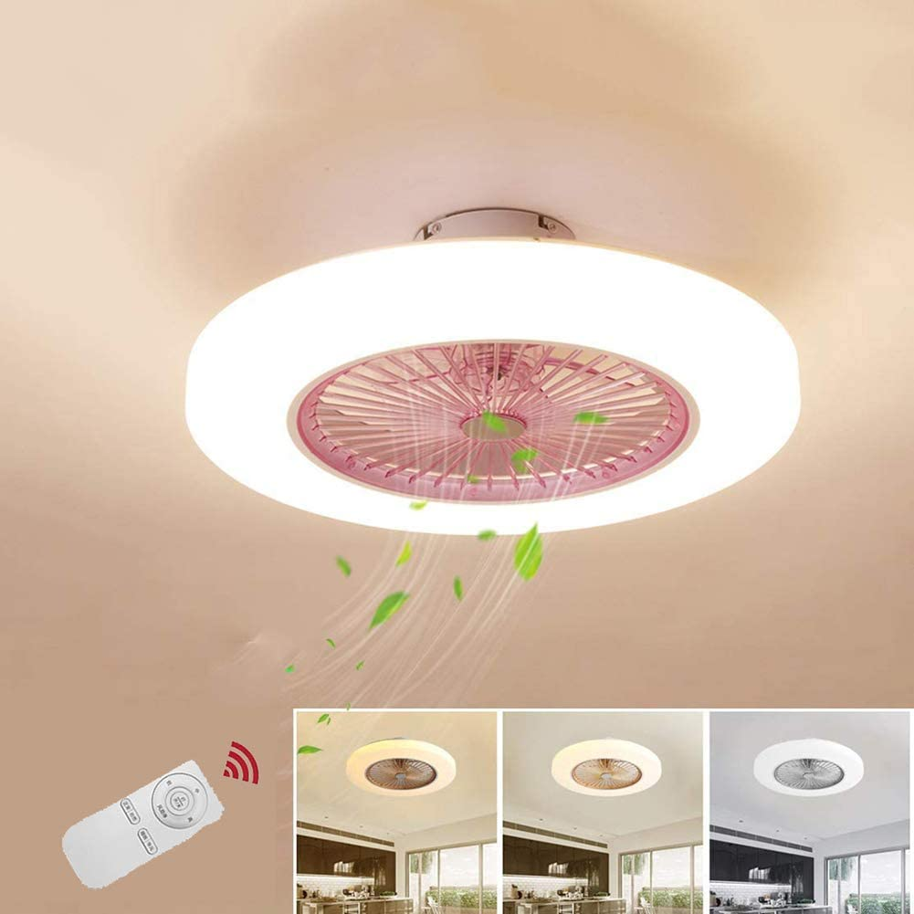 Ventilador de techo con iluminación Redondo Rosa rosa Luz del Regulable Lámparas de techo 72W LED Ultra silencioso invisible Luces Acrílico ventilador moderno Lámpara de dormitorio φ58cm * H20CM