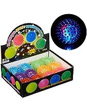 Relaxdays 10024328 led-egelbal, set van 12 stuks, met noppen, lichtgevende flummi, knipperende stekelbal, Ø 6,5 cm, verschillende kleuren, verpakking