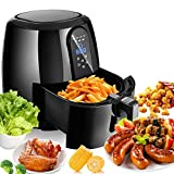 Electric Air Fryer, 1800W 5.2L Multi-Function Hot Air Fryer Cooker with Timer and Temperature Control for Healthy Oil Free Cooking (Black)