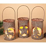 Heart of America Assorted Metal Lanterns with Christmas Cutouts - Set of 3