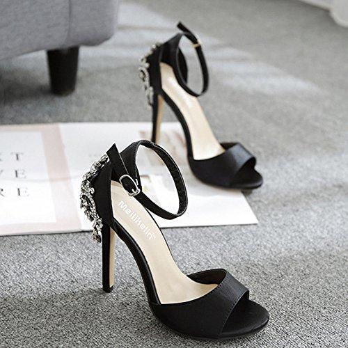 Kaiki Elegante Hochhackige Schuhe der Frauen, Sommer-Mode-Luxus-Diamant-Absatz-Sandelholze Partei-Hochzeits-Absätze Schwarz