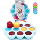 USA Standard- BPA Free | Homemade Baby Food & Frozen Breastmilk Freezer Storage Silicone Tray | Cover Lid | 1.5oz Portion Containers, Cups | Bonus 2 White-Hot Spoons | Makes a Great Gift! | Blue