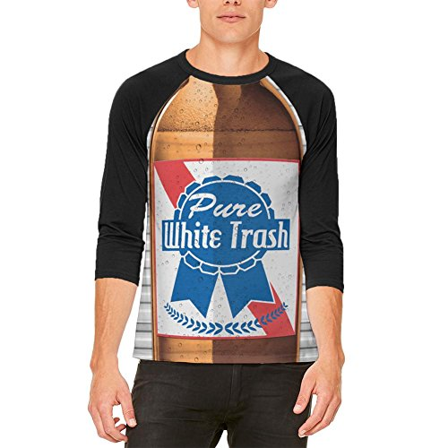 Old Glory 4th of July Halloween Pure White Trash Beer Costume Mens Raglan T Shirt White-Black MD