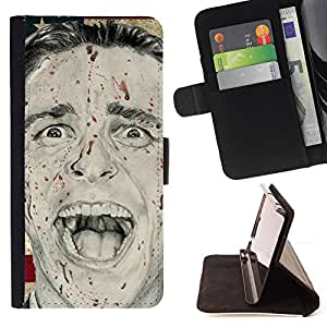 Man Psycho America President Flag Usa - Painting Art Smile Face Style Design PU Leather Flip Stand Case Cover FOR Apple Iphone 6 @ The Smurfs