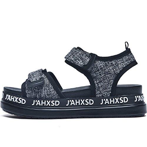 SOHOEOS Sandalias para Mujer Señoras Verano nuevo señoras plana Vintage sandalias romanas Plataforma Velcro señoras Gris