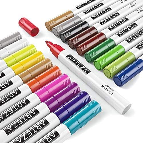 Rotuladores para pintar en cartulina negra ARTEZA Rotuladores permanentes de colores con madera y m/ás Tinta al /óleo piedra Pack de 20