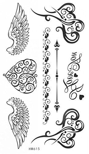 Temporary Tattoos Wings (MapofBeauty Heart With Wings Temporary Waterproof Tattoos Sticker(2 pcs/lot))