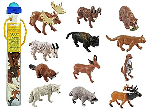 Safari Ltd Wild Safari North American Wildlife TOOB With 12 Favorite Animal Toy Figurines Including a Mountain Lion, Wolf, Elk, Big Horn Ram, Bison, River Otter, Raccoon, Pronghorn Buck, Moose, Grizzly Bear and Beaver.