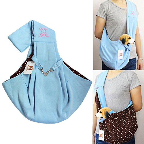 i'Pet Hands-free Reversible Small Dog Cat Sling Carrier Bag Travel Tote Soft Comfortable Puppy Kitty Rabbit Double-sided Pouch Shoulder Carry Tote Handbag (Blue with Stars)