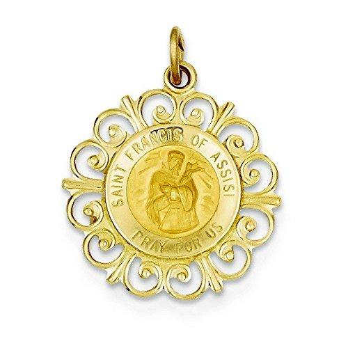 14 Carats Pendentif Médaille Saint François 19,5 x 24,7 mm-JewelryWeb