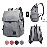 GuiShi(TM) Women Girls Casual polyester Backpack Purse Travel Work College School Bag with USB Charging Port (Grey)